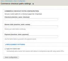 Commerce Checkout paths
