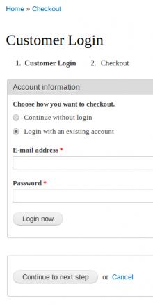 Commerce Login Step Screenshot