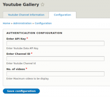 Youtube Gallery configuration page