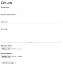 Screenshot of site-wide contact form with Contact Attach enabled and configured.