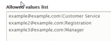 Contact Form Categories field allowed values example