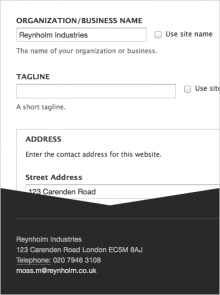 Filling in the contact information on the settings form produces an hCard block.