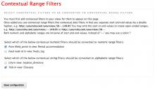 Contextual Range Filter settings page
