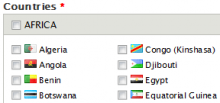 Countries Table Field with Country Icon integration