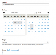date multiselect widget