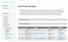 A screenshot of the Drupal 7 Recent log messages screen showing three log messages, each of which has one or more custom Operations added by the dblog_api module.