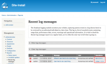 A screenshot of the Drupal 7 Recent log messages screen showing a ban link next to one log message, and an unban link next to another message.