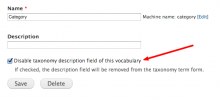 Screenshot: Disable taxonomy description