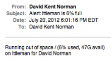 Screenshot of diskfree alert email showing 47G of free space on the / partition