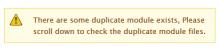 Duplicate Module Files warning