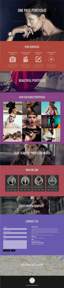 Photographer - Drupal One Page Portfolio Theme