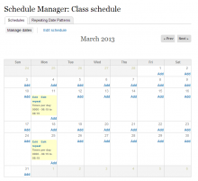 A screenshot of the Calendar-based Date set Management UI
