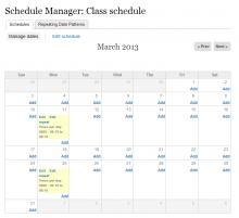 A screenshot of the Calendar-based Date set Management UI