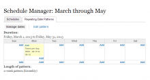 A screenshot of the Calendar-based Repeat Pattern Management UI