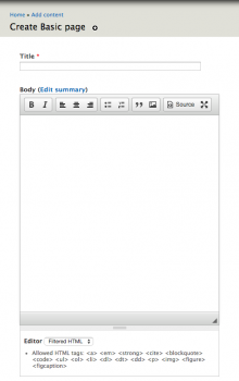 Screenshot of the CKEditor WYSIWYG editor provided by the Editor CKEditor submodule.