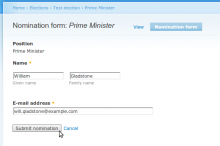 Screenshot: Nomination form
