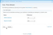 Screenshot: Voting form