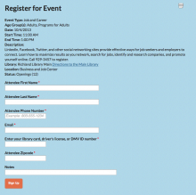 Evanced Registration form