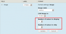 Screenshot of additional field formatter settings. Number of values to display,