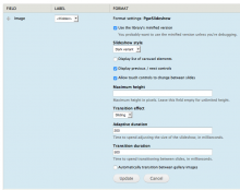 A screenshot of a content type's Manage display page, showing the PgwSlideshow field formatter settings.