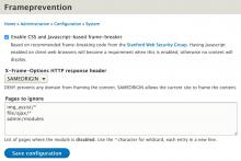 Frameprevention 8.x-1.0 configuration form
