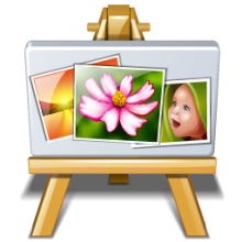 An easel with three photographs on it.