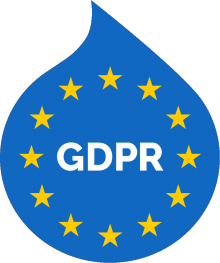 """A Druplicon-shaped EU flag with the word """"GDPR"""" in its center"""