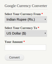 Google Currency Converter Block