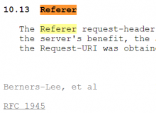 The correct(?) spelling of referrer :-)