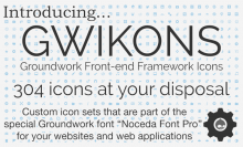 """Gwikons are custom icon sets that are stored in """"Noceda Font Pro"""",  a light and"""