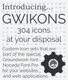 "Gwikons are custom icon sets that are stored in ""Noceda Font Pro"",  a light and"