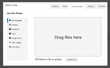 Ink Filepicker interface within a media dialor