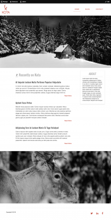 "Screenshot of a Drupal 8 ""Kota"" theme"