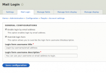 Mail Login: Configurations Page