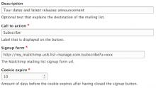 Mailchimp simple signup admin ui