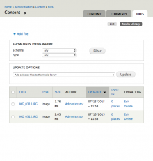 A screenshot of the media library file listing page.