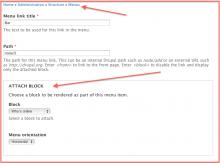 Menu Attach Block module admin interface