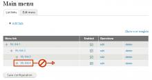 Menu Depth Limit prevents user from dragging a link beyond configured limit.
