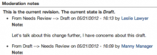 A sample showing that a user moved a moderation state from Needs Review to Draft