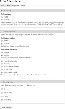Notify user settings