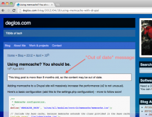 "Screenshot showing the ""Out of date"" message, above a blog-post."