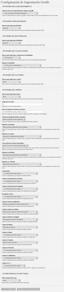 Geslib Module settings screenshot