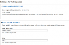 Feeds adlib parser settings