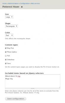 Admin screen options