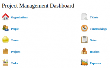 Screenshot of the Project Management menu
