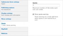 Quota node limits settings