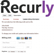 Recurly logo and payment page