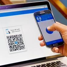 Scanning a QR code with idQ Connect app to login to Drupal site.