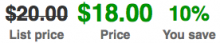 Screenshot of the inline Commerce Price Savings formatter
