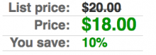 Screenshot of the stacked Commerce Price Savings formatter